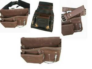 Tool Leather Pouch 10/ 5 Pockets + Hammer Holder + Scaffold Leather / Nylon Belt