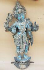 Antique Old Rare Hand Carved Wooden Hindu God Vishnu Figure Holy Statue NH5545