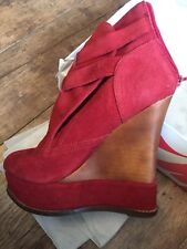 Jeffrey Campbell Red Suede Platform Boots 6 (39)