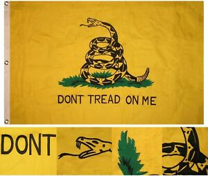 3x5 Embroidered Gadsden Yellow Snake Tea Party 100% Cotton Flag 3'x5' Clips Pin
