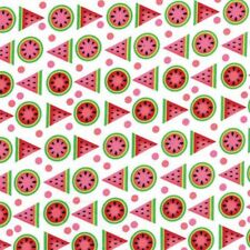 Juicy Watermelon Wedges Geometric on White Quilt Cotton fabric By The Yard