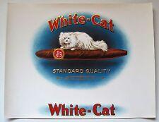 WHITE CAT Cigar Label White Long Haired Cat