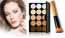 Crema contorno facial 15 colores Maquillaje Corrector Paleta + Maquillaje Pincel Corrector