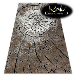 Amazing Designer structural soft Rug 'COZY' Wood, tree trunk brown Best Quality