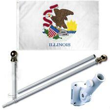 Illinois 3 x 5 Ft Flag Set w/ 6-Ft Spinning Flag Pole + Bracket (Tangle Free)