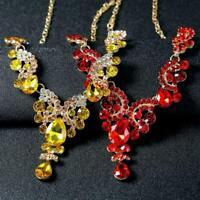 Luxus Hochzeit Braut Party Kristall Strass Halskette Ohrringe Schmuck-Set- H3W9