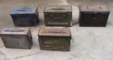5 Different Empty WW2 - Korean War era US Machine Gun Ammo Boxes Used Condition