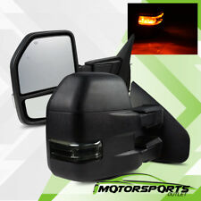 2004-2014 Ford F150 Truck POWER/HEATED Smoke Towing Mirrors+LED SIGNAL Lights