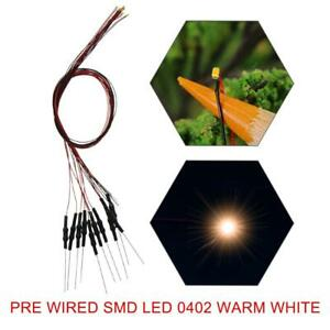 40pcs Pre-wired SMD LED 0402 Warm White Pre-soldered Micro litz Leads 0402 LED