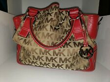 Michael Kors Brookville Large Monogram Drawstring Tote/bag In Red And Beige