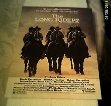 THE LONG RIDERS Premiere program - 1980 - Carradine, Keach, Quaid brothers -MINT