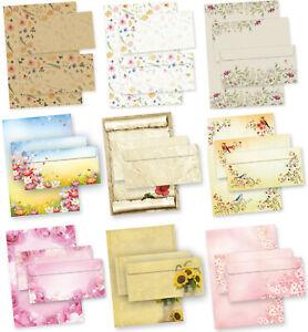 NEU Briefpapier Set mit Umschlag A4 Blumen bunt schön floral - 9 Motive zur Wahl