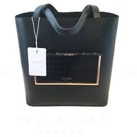 Ted Baker NEW Exotic Black Shopper Real Leather Bag 135852 RRP £160