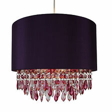 Modern Easy Fit Drum Shade Plum Fabric Ceiling Pendant Chandelier Light Shade