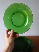 """VERECO France smaragdgrün 8"""" flache Schalen (4), Vintage Jahrhundertmitte modern Glas"""