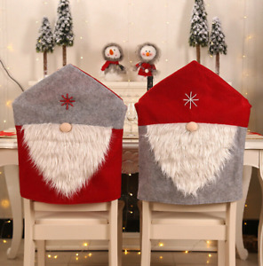 1 x Christmas Santa Claus Dining Chair Cover Home Party Decor Hat Seat Elder Red
