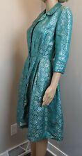 Vintage Unique Adele Simpson Couture Silk Brocade green Gold Cocktail CoatDress