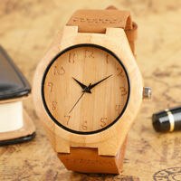 Handmade Nature Wood Bamboo Men Women Wrist Watch Genuine Leather Band Strap