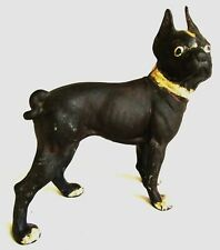 """Antique Hubley Cast Iron 13"""" Door Stop Statue - Boston Terrier or French Bulldog"""