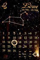Signo Del Zodiaco León Calendario con Swarovski Piedras Chapa 20 X 30CM
