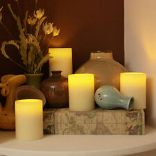 4x Flickering Flameless Resin Pillar LED Candle Lights w/Timer for Wedding Party