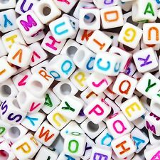 500 x Alphabet Letter Cube Beads, 6mm, Mixed Colours, **FREE SHIPPING**