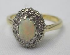 Vintage 18ct Gold Cabochon Precious Natural White Opal & Diamond Ring
