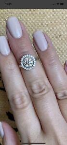 Daisy Moissanite & Diamond Ring White Gold