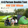 4-6 Person Large Camping Tent Waterproof Hiking Travel Two Room One Hall Tents