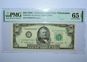 1950-C $50 FEDERAL RESERVE NOTE ✪ PMG 65-EPQ ✪ 2110-C PHILADELPHIA 728 ◢TRUSTED◣