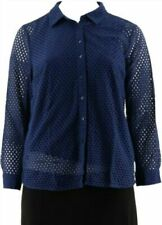 Denim & Co. Button Front Eyelet Shirt with Knit Tank-Navy-3X-NEW-A288398