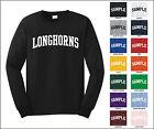 Longhorns College Letter Team Name Long Sleeve Jersey T-shirt