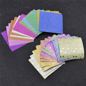 20x Square Star Shiny Origami Paper Single Sided DIY Hand Crafts Supplies 7×7cm