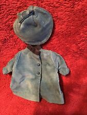 Antique Doll Blue Corduroy Coat And Tam Hat