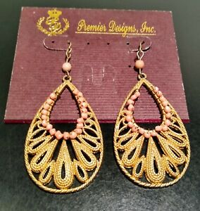 Premier Designs Gold Toned With Pink Beaded Trim Earrings