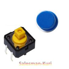 10x Taster mit Druckfläche Blau 12x12x7,5 /12 Button Mikrotaster mit Kappen