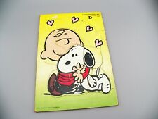 """VTG Golden """"I Love Snoopy"""" Wooden Puzzle 10-pieces Peanuts Charlie Brown GVC"""