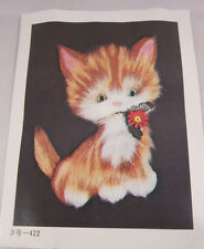 """Tokyo Bunka Punch Embroidery Kit Fluffy Cat 11.8"""" x 15.7"""" 422 Ginger"""
