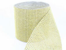 Sparkly Diamante Effect Ribbon Light Gold Colour Trim Sewing Wedding Crafts UK