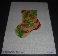 New 1995 Julie Mar Needlepoint Canvas Mini Christmas Stocking Acorns Leaves
