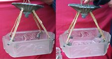 Rare French Art Deco Pair Ceiling Light Chandelier Frosted Glass Silverplate Bro