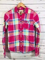 Hollister Womens Juniors Flannel Shirt Sz S Small Pink Plaid Soft Long Sleeve