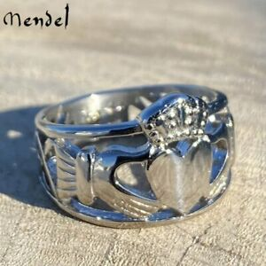 MENDEL Stainless Steel Mens Celtic Irish Claddagh Wedding Band Ring Size 7-15