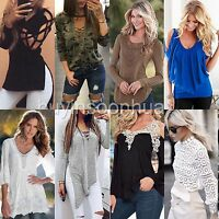 NEW Women Fashion Casual Loose Tops Ladies Long Sleeve Shirt Lace T-Shirt Blouse