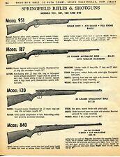 1964 Print Ad of Springfield Model 951 Shotgun 187 120 & 840 Rifle