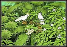 "Original Balinese Painting  ""Cockatoos in a Coconut Tree"" (33"" h x 49"" w)  HUGE!"