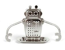 New -  Kikkerland Stainless Steel Silver Robot Tea Infuser with Drip Tray