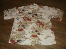 Men's COLUMBIA Short Sleeve Button Front Hawaiian Shirt Large L Surfers Palm