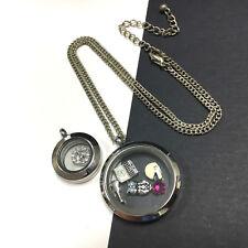 ORIGAMI OWL set 2 Locket Charms Pendants Silver Necklace Football laptop JJ258k
