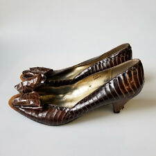 Vintage Brown Genuine Snake Skin Leather Kitten Heels 80s Pumps w Bow Size 6.5
